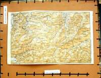 Original Old Vintage Print Map 1929 Tirol Dornbirn Oberstdorf Mountains Alps