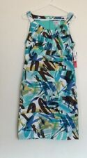 R & K Originals Summer Sun Dress Blue Abstract Paint Splash Size 10 NWT