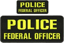 POLICE FEDERAL OFFICER 4X10 and 2x5 hook black background border yellow letter