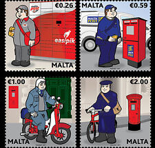 Malta 2017 malte Postal Uniforms postman Peppi Pustier bicycle motos cars 4v mnh