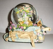 Westland Musical FLOWER CART WITH BIRDS SNOWDOME GLOBE Plays My Favorite Things