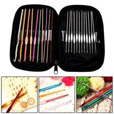 New 22pcs Crochet Hook Multi Colour Aluminium Yarn Knitting Needles Set Kit Case