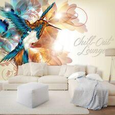 Vlies Fototapete 3D Abstrakt Kunst Bunt Kolibri Vogel Wohnzimmer XXL Tapete 77
