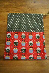 Handmade shabby chic drawstring gift bag Christmas green spot red cupcakes