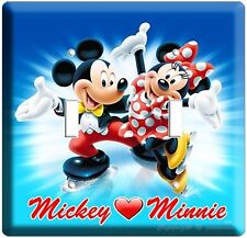 Mickey Mouse And Minnie Ice Skating Double Light Switch Plate Kids Bedroom Decor
