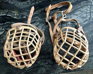 Flat Faced Dog Muzzle Basket Shape Size 4 Staffy Bull Mastiff Plastic & Leather