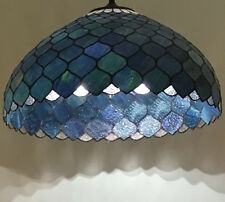 BLUE FISHSCALE 51CM  TIFFANY STYLE LEADLIGHT PENDANT - WILL SHIP AUSTRALIA WIDE