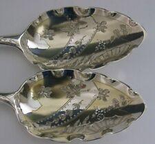 GEORGIAN STERLING SILVER SERVING SPOONS 1800 BATEMAN BUTTERFLIES ANTIQUE ENGLISH