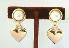 Vintage NEW Clip EARRINGS Goldtone Faux PEARL w. DANGLE HEART 14