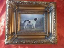 nice gilt framed oleograph picture of a landseer newfoundland dog
