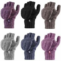 Heat Holders - Womens Winter Warm Cable Knit Thermal Fingerless Converter Mitten