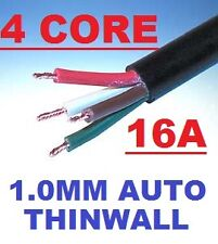 4 CORE AUTO CABLE 1.0mm 16 AMP CAR WIRE 2 METRES MULTICORE THINWALL 1MM  2M