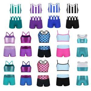 Kids Girls 2Pcs Ballet Crop Top+Booty Shorts Dance Outfit Gymnastics Leotard Set