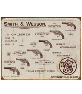 "Smith & Wesson Revolvers Vintage Tin Sign S&W 16"" x 12.5"" BRAND NEW"