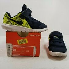 Nike Free RN Neon Yellow/Green / Navy /White Toddler Size 9c