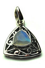 **BEAUTIFUL CELTIC STYLE FACETED RAINBOW MOONSTONE 925 SILVER PENDANT**