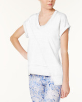 Calvin Klein Asymmetrical-Hem Short Sleeve Top White