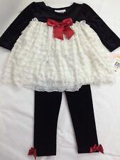 Girls Bonnie Jean Baby Girls Dressy Lined Top Dress Leggings 2 Piece Sz 12 M