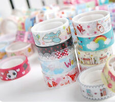 5 Rolls Self-adhesive Mixed Color Cute Cartoon Scrapbooking Decor Washi Stickers