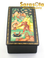 Russian Fairy Tales Lacquer Hand Painted Wooden Jewelry Box Artist Signed