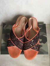 Women's Sandals REBECCA WHITE bronze color, size 39, wedge heel with rhinestones