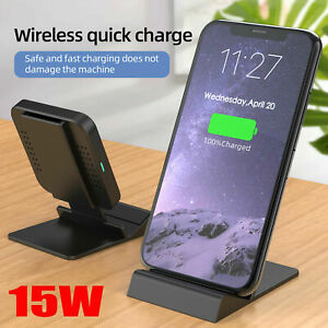 15W Fast Wireless Charger Stand Qi Charging Dock for iPhone 8 X XR 11/12 Pro Max