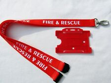Brigade FIRE & RESCUE Red/White Neck Lanyard & Service ID Pass Card/Badge Holder