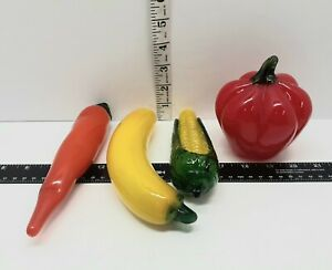 Vintage Lot of 4 Glass Fruit and Vegetables Art Deco Banana Carrot Corn & Tomato