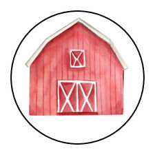 "30 1.5"" FARM RED BARN BIRTHDAY BABY SHOWER FAVOR LABELS ROUND STICKERS***"