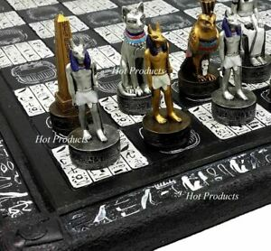 "EGYPTIAN ANUBIS CHESS SET Gold & Silver Painted Men W/ 16"" HIEROGLYPHICS BOARD"