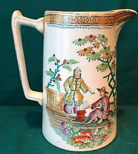 Antique Transferware - Staffordshire Pitcher with Polychrome Highlights 1
