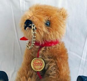 "Vintage Hermann Teddy Bear on Wheels West Germany 6"" with Tags Chain Great"