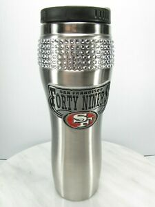 SAN FRANCISCO 49ERs STAINLESS STEEL 20 oz MUG TRAVEL Ladies Rhinestones  NEW NFL