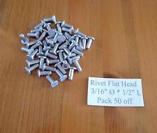 """Solid Aluminium Rivets Flat Head 3/16"""" dia * 1/2""""  long * 50"""