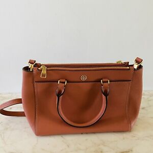 TORY BURCH Solid Pink Brown Leather Satchel Bag Gold Logo