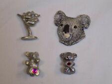Bear + Koala Lot Set 4 Wood Magnet + Pewter Metal Figurine Statue Figure Collect