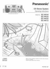 Panasonic SA-AK12 SA-AK22 SA-AK33 SA-AK44 CD Stereo System Instruction Manual