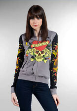 Ed hardy women tattoo Hoody Jacket NEW XS NEW SKULL ZIP UP SKINNY