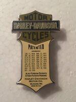 Harley Knucklehead Panhead Patented Enameled Jacket Hat Cap Pin Museum Nos OEM
