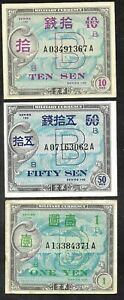 Japan - Set/3 Allied Military Currency (AMC) WWII - XF or better
