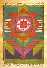 "Vintage Polish HANDWOVEN WOOL KILIM ""FLOWER"" 112x76 cm | Tapestry Rug | 1970s"