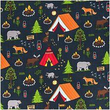 Rico Baumwollstoff Camping Pfadfinder Stoff Kinder Baumwolle