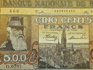 500 Francs, 1945, KM:127a Belgique 500 Frank Belgïe Belgium Banknote