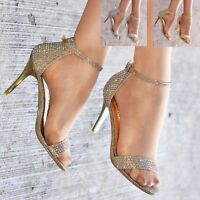 Ladies Diamante Heeled Sandals Ankle Strap Shoes Sparkly Barely There Heels Size