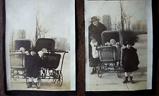 Vintage Photos 2 Strollers Buggys Prams Wicker Mother Children Babies VG Cond