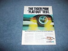 "1966 UniRoyal Tires Vintage Color Ad ""The Tiger Paw ""Flat Out"" Test"""