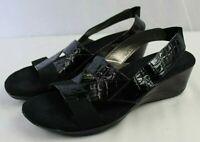 WHITE MOUNTAIN womens slip-on shoes size 7.5 medium open toe mid heel black