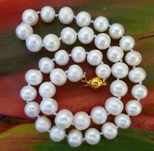 10-11 mm WHITE FRESHWATER PEARLS OVAL EGG SHAPE 47cm long NECKLACE