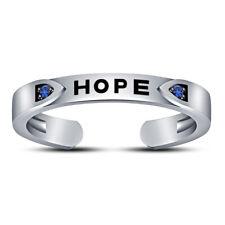 "Sapphire ""Hope"" Letter Toe Ring 925 Silver 14K White Gold Fn Womens Round Blue"