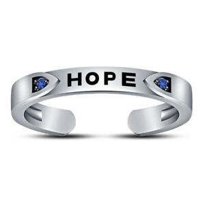 """Womens 14K White Gold Over Silver Round Blue Sapphire """"HOPE"""" Letter Toe Ring"""